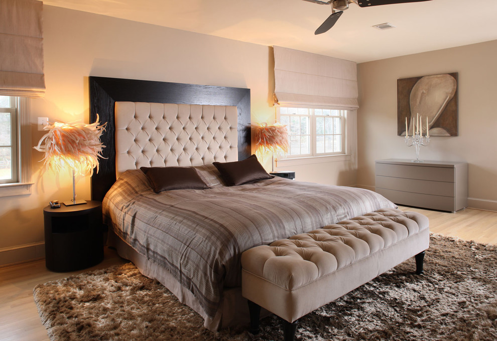 Trendy bedroom photo in DC Metro with beige walls