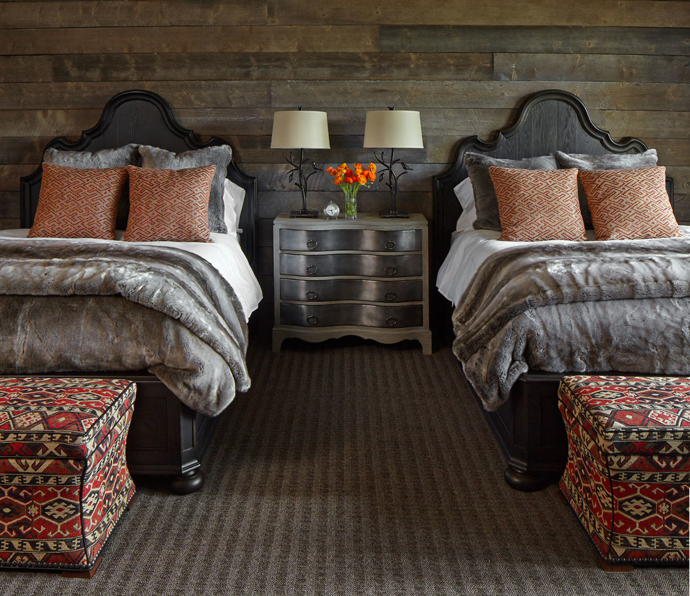 Mountain style guest carpeted bedroom photo in Denver