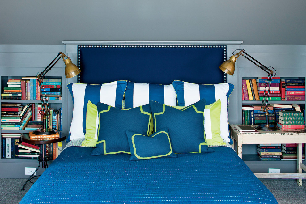 Inspiration for a country carpeted and blue floor bedroom remodel in Atlanta with blue walls