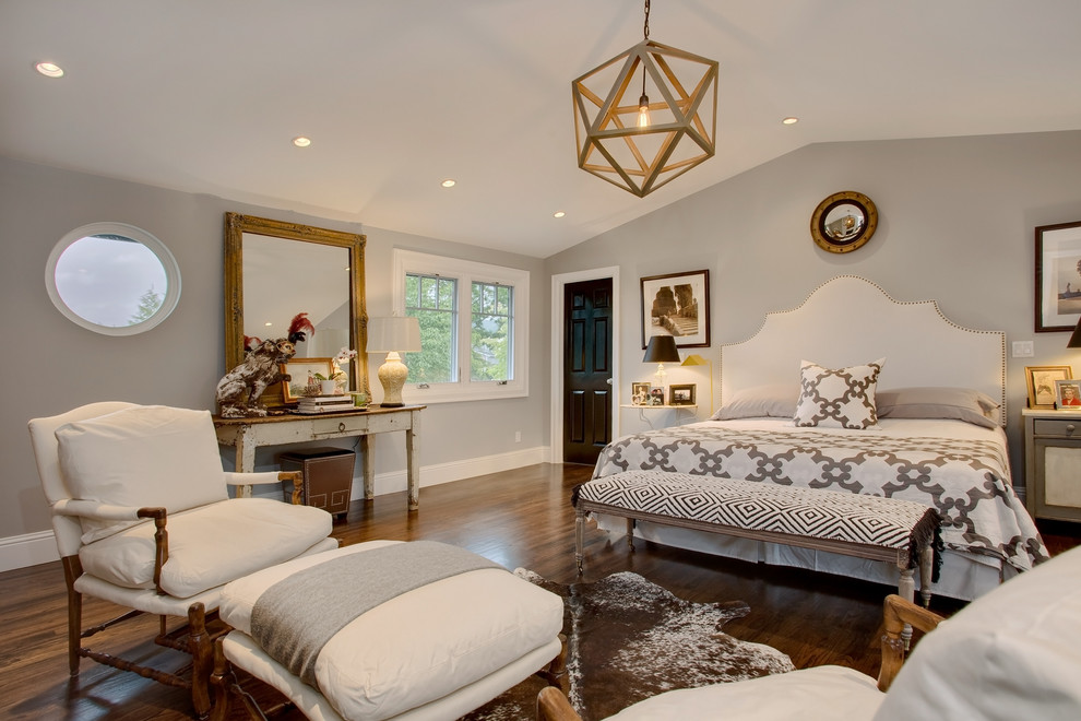 Bedroom - transitional master dark wood floor bedroom idea in Seattle with gray walls
