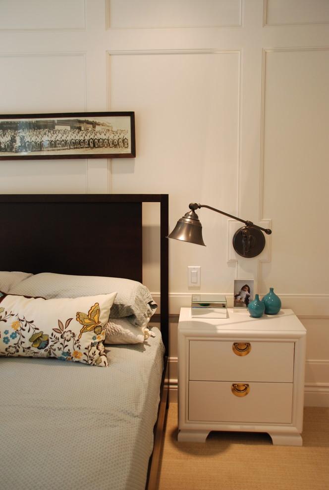 Bedroom - contemporary master bedroom idea in Toronto with white walls