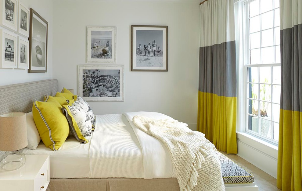 Beach style bedroom photo in Atlanta with white walls and no fireplace