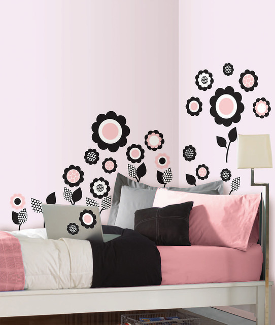 Retro Floral Wall Art By WallPops Eclectic Bedroom By WallPops