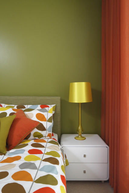 Retro Green And Orange Bedroom Modern Bedroom London