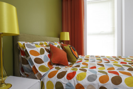 Retro Green and Orange Bedroom - Modern - Bedroom - London ...
