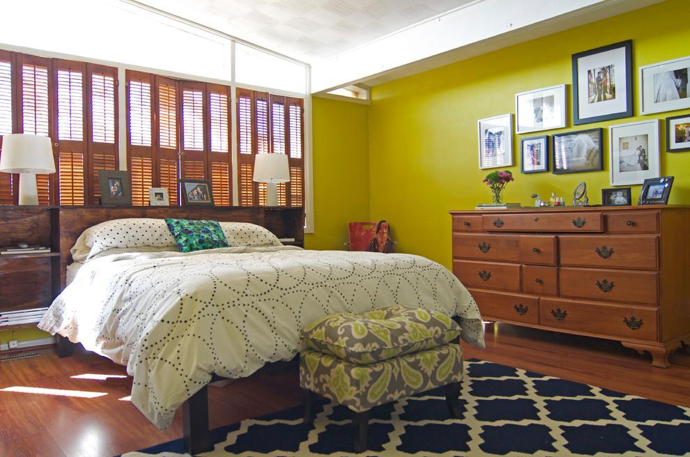 Bedroom - contemporary medium tone wood floor bedroom idea in Dallas with green walls