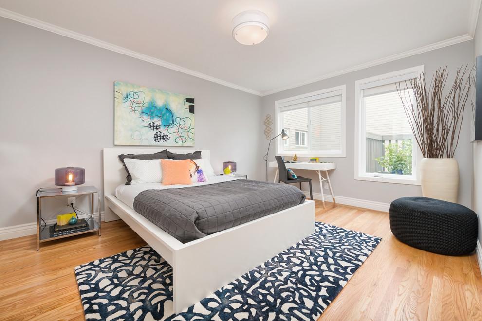 Trendy master light wood floor bedroom photo in San Francisco with gray walls