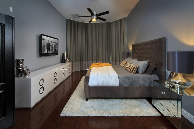 Example Of A Mid Sized Trendy Master Dark Wood Floor Bedroom Design In  Orlando With