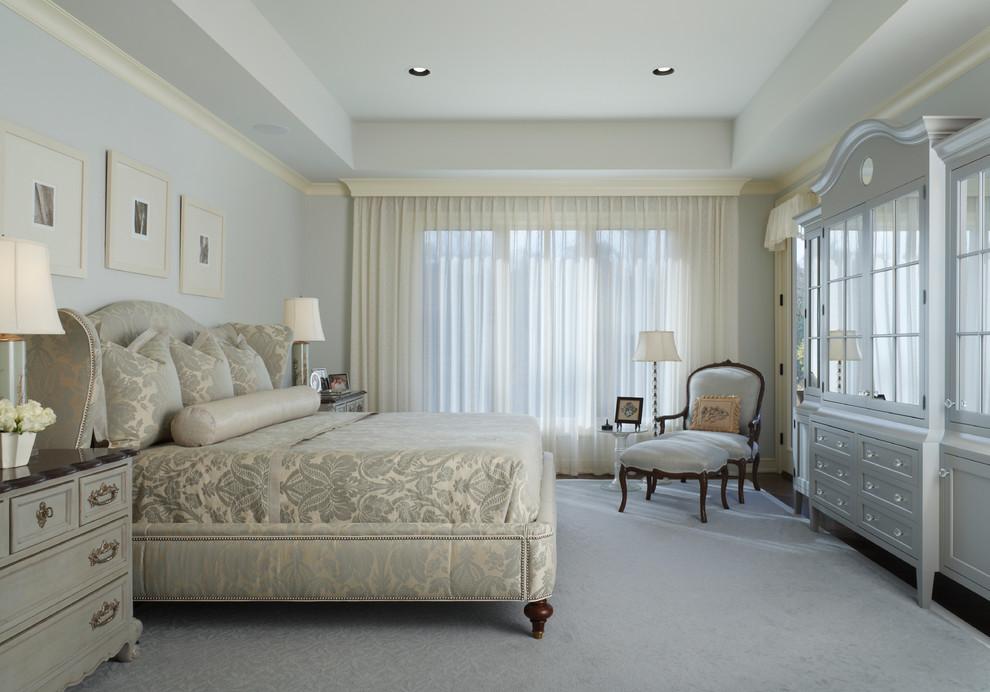 Bedroom - traditional bedroom idea in Detroit with gray walls
