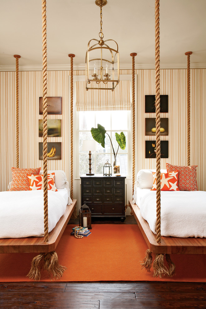 Example of a classic guest bedroom design in Atlanta with multicolored walls