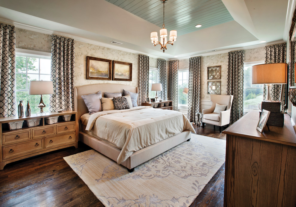 Inspiration for a transitional dark wood floor bedroom remodel in Chicago with beige walls