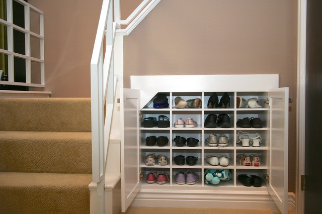 Robeson design shoe storage solutions using space below a staircase - Shoe organizers for small spaces design ...