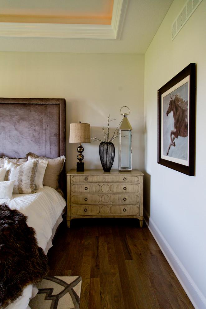 Bedroom - large modern master medium tone wood floor and brown floor bedroom idea in Kansas City with gray walls