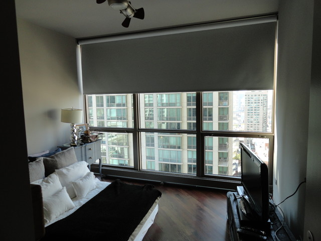 Roller shades contemporary bedroom chicago by for Modern bedroom window coverings