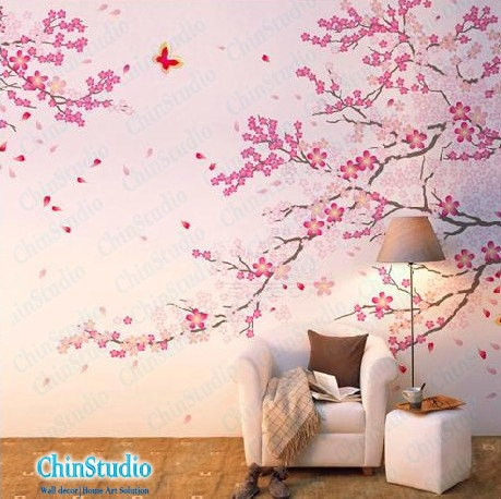 Romantic cherry blossom wall decal by chinstudio for Cherry blossom bedroom ideas
