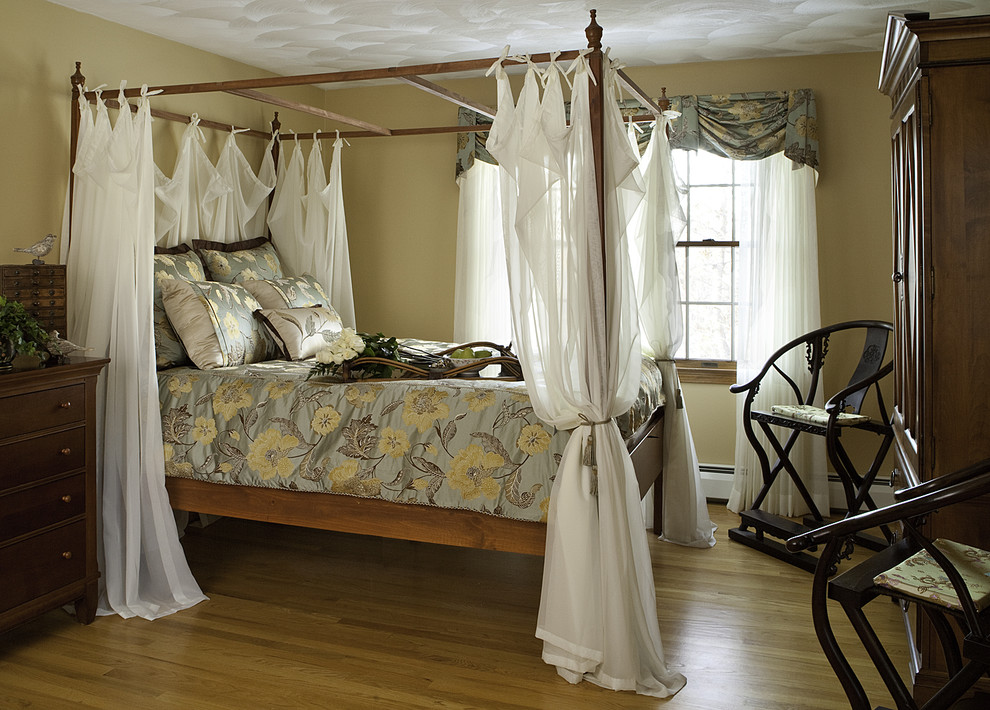 Inspiration for a timeless medium tone wood floor bedroom remodel in Boston with beige walls