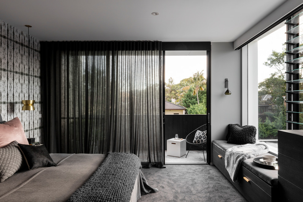 Bedroom - large contemporary master carpeted bedroom idea in Sydney with gray walls
