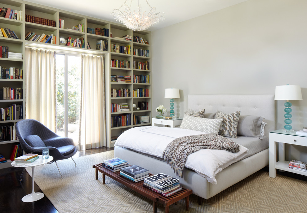 Inspiration for a 1960s dark wood floor bedroom remodel in Austin with gray walls