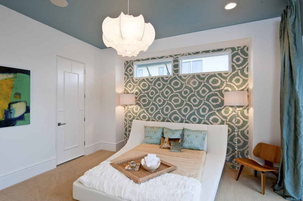 Trendy bedroom photo in Austin with multicolored walls