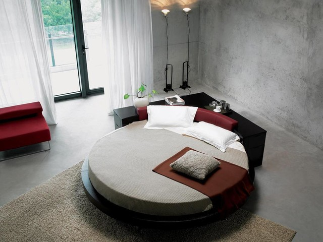 modern black circle beds with headboard for kids | Round Bed with Corner Console - Contemporary - Bedroom ...