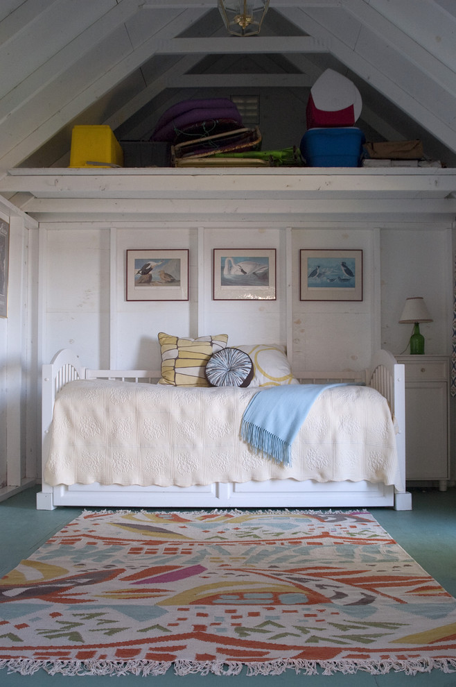 Mountain style painted wood floor bedroom photo in Portland Maine with white walls