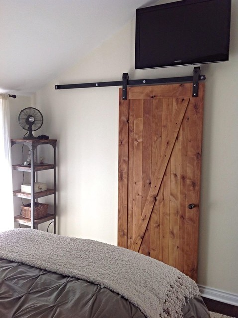 Z barn door rustic bedroom salt lake city by for Bedroom barn door hardware