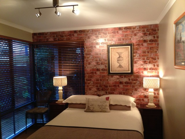 Rustic brick wallpaper in bedroom rustic bedroom for Brick wallpaper bedroom ideas