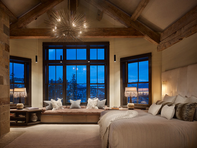 Rustic contemporary master contemporary bedroom for Mountain modern bedroom