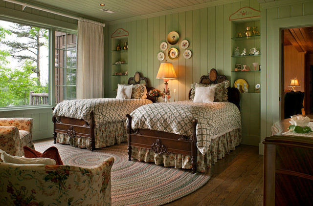 Rustic elegance on the lake traditional bedroom for Rustic elegant bedroom