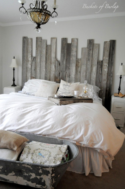 Rustic Headboard eclectic bedroom