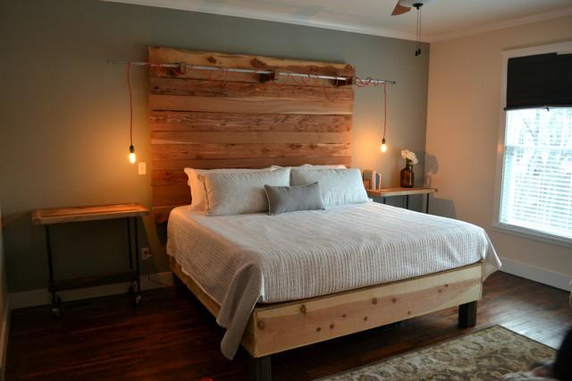 Rustic industrial bedroom for Industrial rustic design furniture