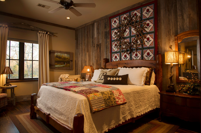 Rustic Lodge Style Home Rustic Bedroom Houston By