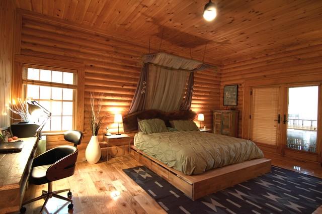 Rustic Modern Log Cabin Rustic Bedroom Charlotte