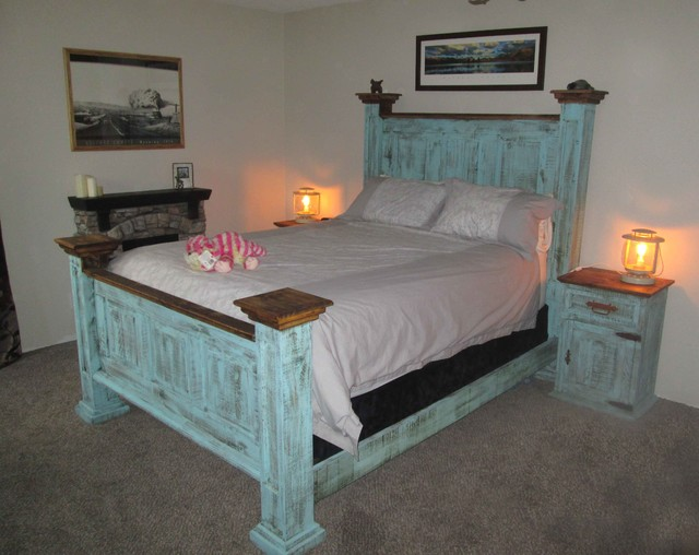 rustic pine turquoise bedroom redo - Rustic Furniture Outlet