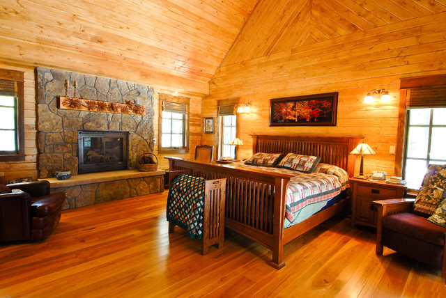 Sage Creek Canyon Hybrid Log Home Rustic Bedroom
