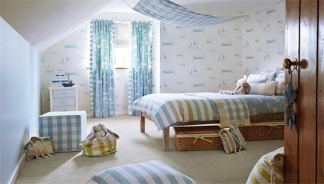 Bedroom photo in Devon with multicolored walls
