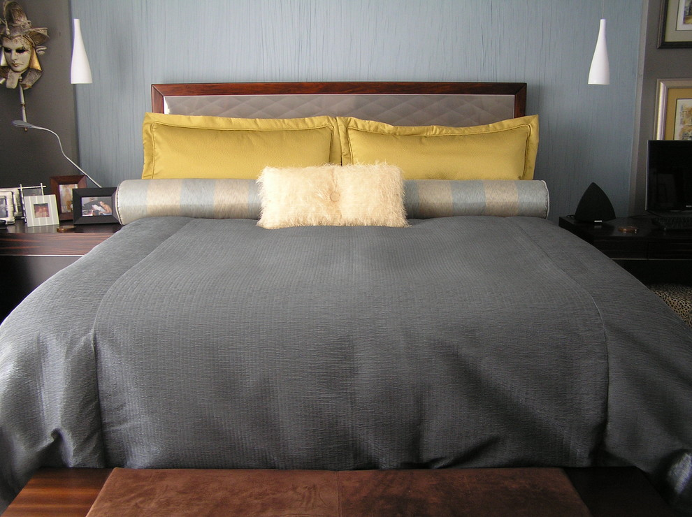 Example of a trendy bedroom design in San Francisco with gray walls