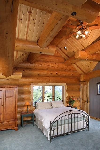 Sanders Log Home rustic-bedroom