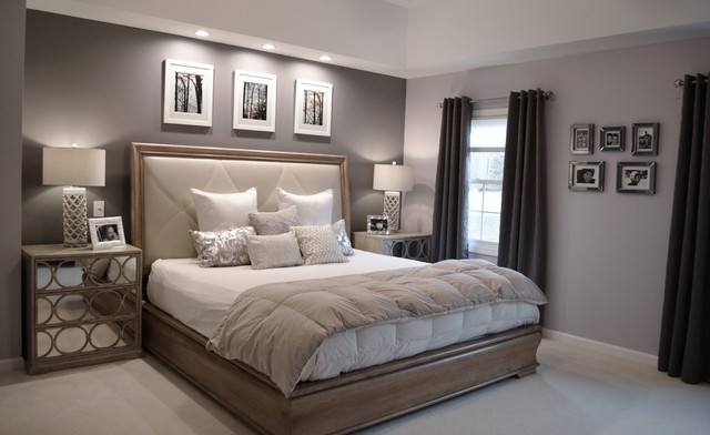 Example Of A Mid Sized Trendy Master Carpeted Bedroom Design In New York With Gray