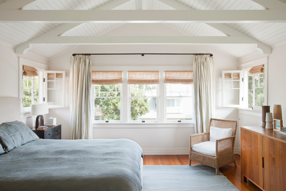 Example of a beach style bedroom design in Los Angeles with white walls