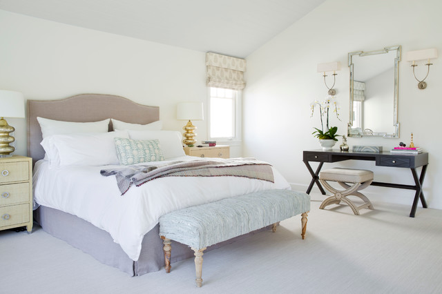 Bedroom - large beach style master carpeted bedroom idea in Los Angeles with white walls