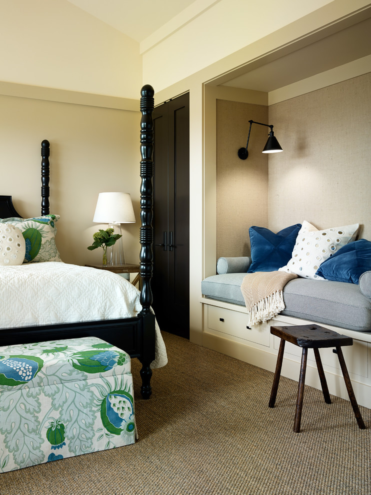 Example of a transitional carpeted bedroom design in San Francisco with beige walls