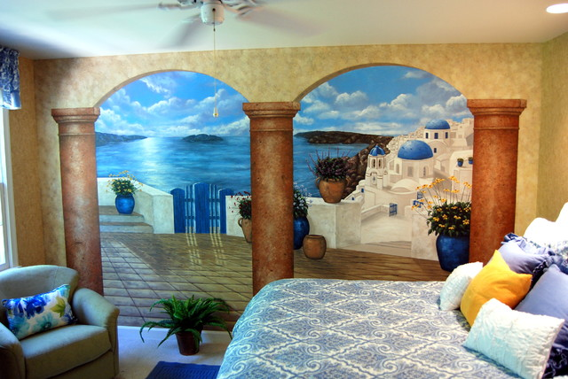 Santorini Greece Mural In A Bedroom By Tom Taylor Of Mural Art LLC, Hand