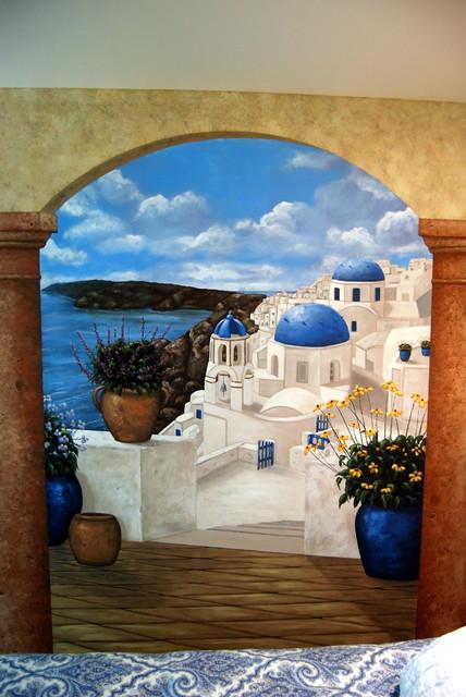 Santorini Greece Mural In A Bedroom By Tom Taylor Of Mural