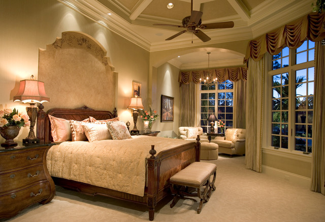 Example Of A Classic Carpeted Bedroom Design In Miami With Beige Walls