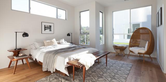 Scandinavian Modern Platform Bed, Mid Century Modern Slat Bench and Cave Chair modern-bedroom