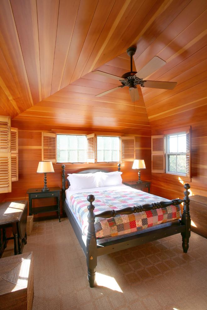 Bedroom - traditional bedroom idea in Boston with brown walls