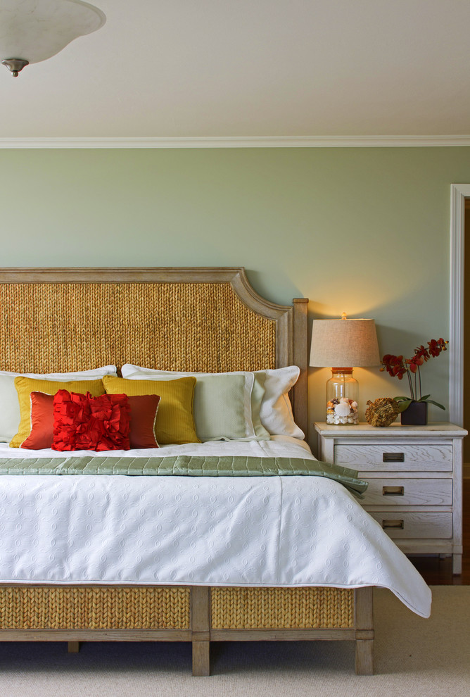 Island style bedroom photo in Boston with green walls
