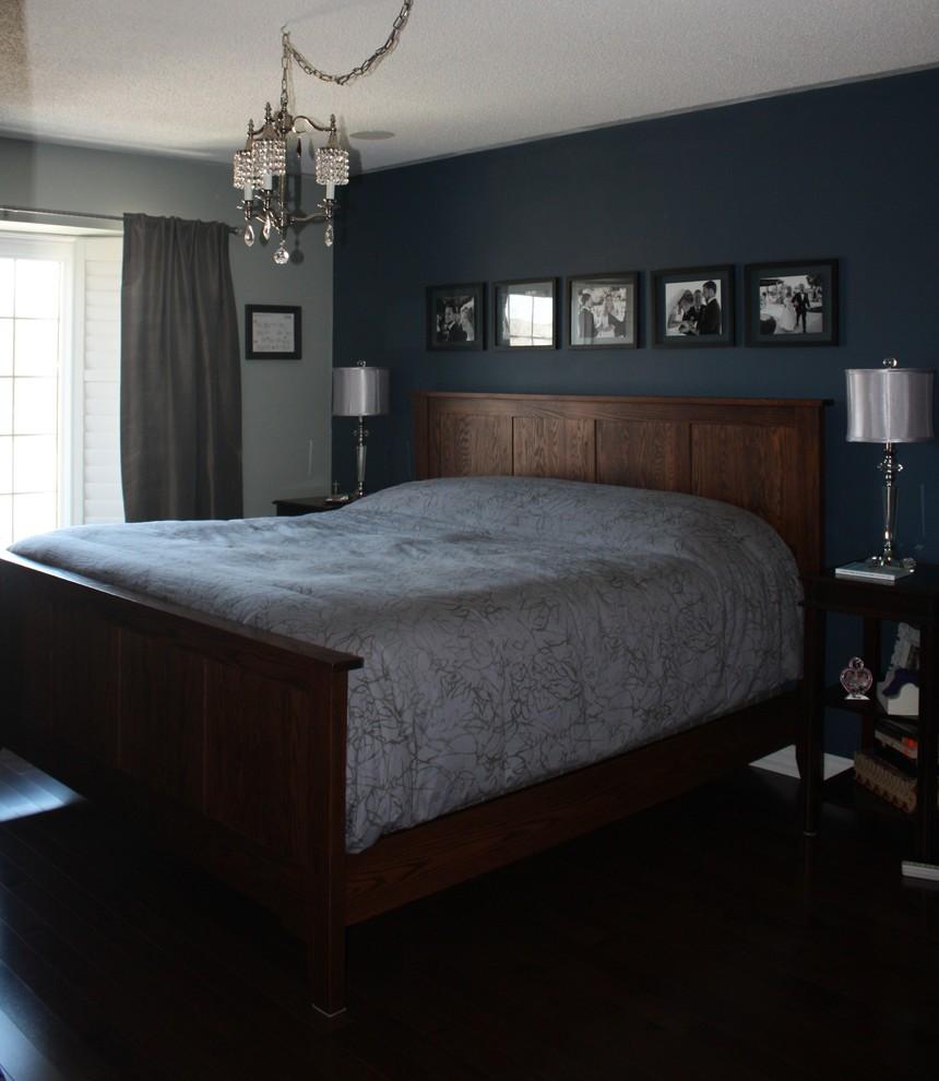 Bedroom - large contemporary master dark wood floor bedroom idea in Toronto with blue walls