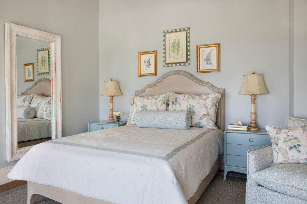 Inspiration for a timeless bedroom remodel in Boston with gray walls